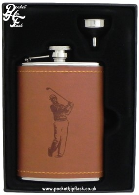 Tan Faux Leather 6oz Hip Flask with Golfer
