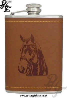Tan Faux Leather 6oz Hip Flask with Horse