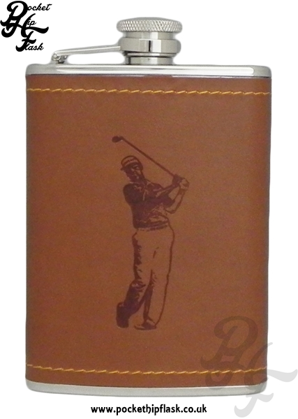 Tan Faux Leather 6oz Stainless Steel Hip Flask with Golfer