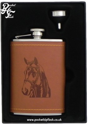 Tan Faux Leather 6oz Stainless Steel Hip Flask with Horse