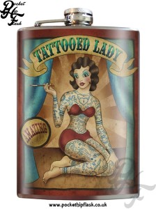 Tattooed Lady 8oz Stainless Steel Hip Flask