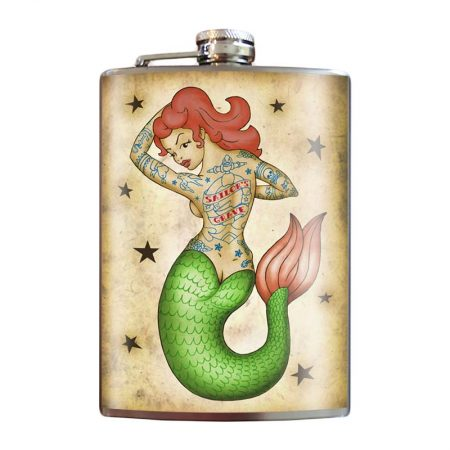 Tattooed-Mermaid-8oz-Stainless-Steel-Hip-Flask