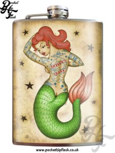 Tattooed Mermaid 8oz Stainless Steel Hip Flask