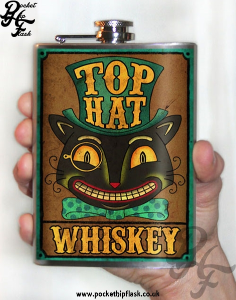 Top Hat Cat 8oz Stainless Steel Hip Flask
