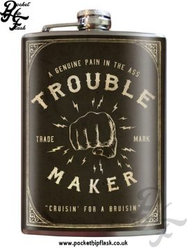 Trouble Maker 8oz Stainless Steel Hip Flask