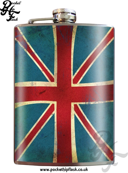 Union Jack Flag 8oz Stainless Steel Hip Flask
