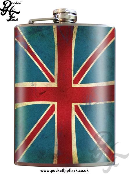 Union Jack Flag 8oz Stainless Steel Hip Flask