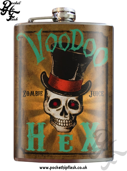 Voodoo Hex Zombie Juice 8oz Stainless Steel Hip Flask