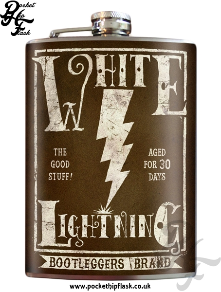 White Lightning 8oz Stainless Steel Hip Flask
