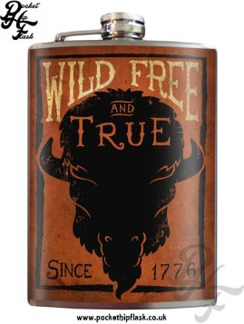 Wild Free and True 8oz Stainless Steel Hip Flask
