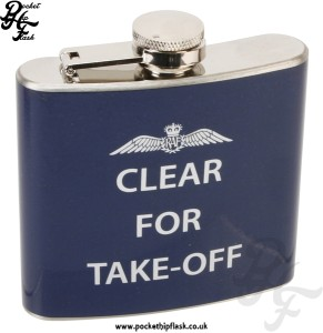 5oz R.A.F Hip Flask Slogan Series Clear for Take Off