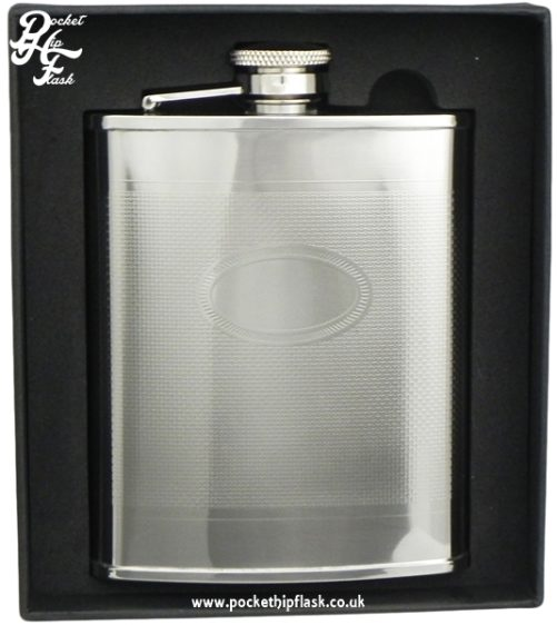 6oz Barley Hip Flask with Oval Engraving Plate boxed