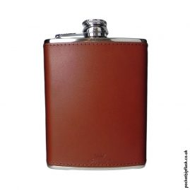 6oz Chestnut Luxury Leather Stainless Steel Hip Flask