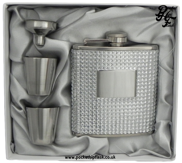 6oz Ladies Diamonte Hip Flask, Funnel & Cups gift set