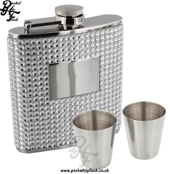 6oz Ladies Diamonte Hip Flask, Funnel & Cups