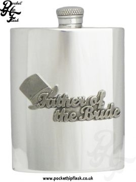 6oz Pewter Hip Flask with 'Father of the Bride' Pewter Badge