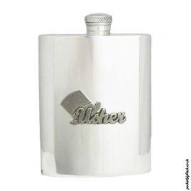 6oz-Pewter-Hip-Flask-with-'Usher'-Pewter-Badge