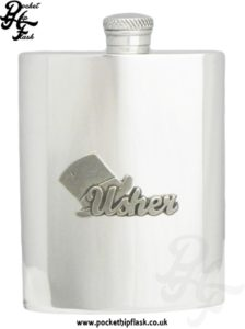 6oz Pewter Hip Flask with 'Usher' Pewter Badge
