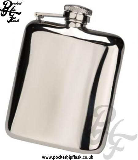 6oz Shiny Stainless Steel Cushion Hip Flask with Captive Top