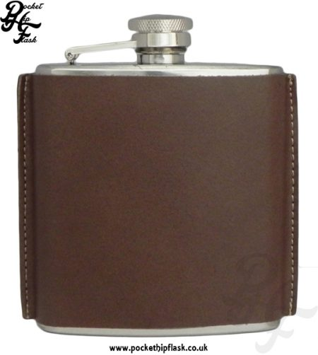 6oz Stainless Steel Hip Flask in Brown Leather