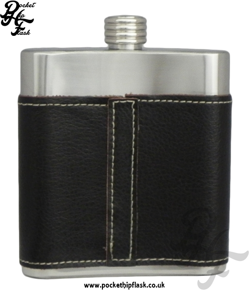 6oz Stainless Steel Hip Flask with V Shaped Leather