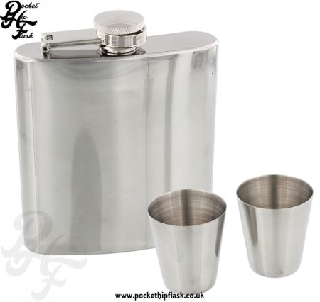6oz Stainless Steel hip flask set with two cups