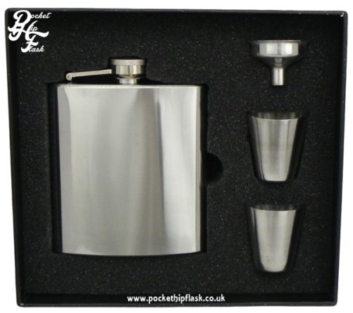 6oz Stainless Steel hip flask set with two cups gift set