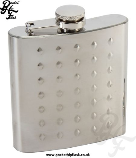 6oz Studded Stainless Steel Hip Flask