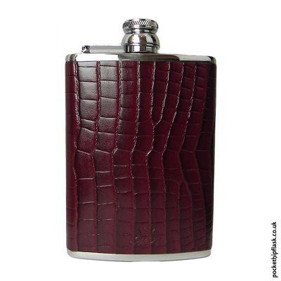 8oz-Burgundy-Nile-Crocodile-Luxury-Leather-Hip-Flask