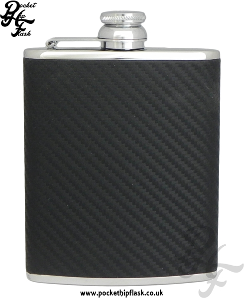 Black Carbon Fibre Style Luxury Leather 6oz Stainless Steel Hip Flask