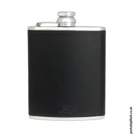 Black Luxury Leather 6oz Stainless Steel Hip Flask