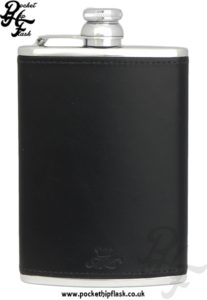 Black Luxury Leather 8oz Stainless Steel Hip Flask