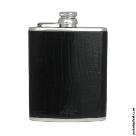Black-Nile-Crocodile-Style-Luxury-Leather-6oz-Stainless-Steel-Hip-Flask