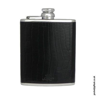 Black-Nile-Crocodile-Style-Luxury-Leather-6oz-Stainless-Steel-Hip-Flask