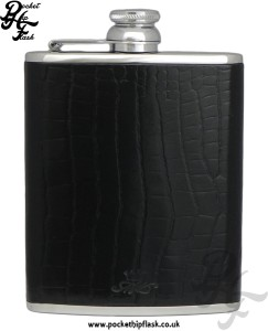 Black Nile Crocodile Style Luxury Leather 6oz Stainless Steel Hip Flask