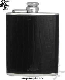 Black Nile Crocodile Style Luxury Leather 6oz Stainless Steel Hip Flask