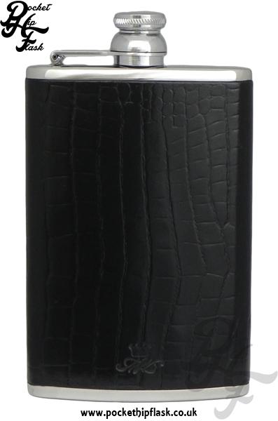 Black Nile Crocodile Style Luxury Leather 8oz Stainless Steel Hip Flask 2