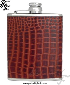 Brown Nile Crocodile Style Luxury Leather 6oz Stainless Steel Hip Flask