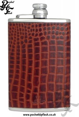 Brown Nile Crocodile Style Luxury Leather 8oz Stainless Steel Hip Flask