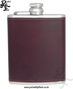 Burgundy Luxury Leather 6oz Stainless Steel Hip Flask