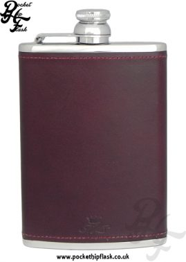 Burgundy Luxury Leather 8oz Stainless Steel Hip Flask 2