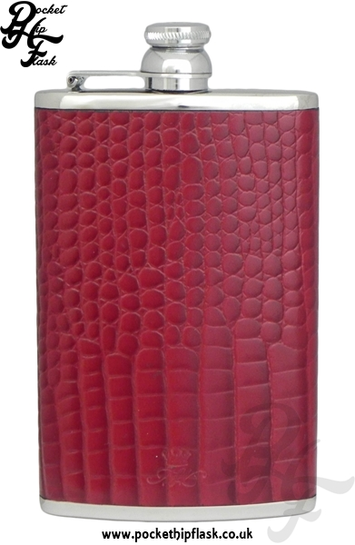 Burgundy Nile Crocodile Luxury Leather 8oz Stainless Steel Hip Flask