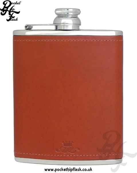 Chestnut Luxury Leather 6oz Stainless Steel Hip Flask