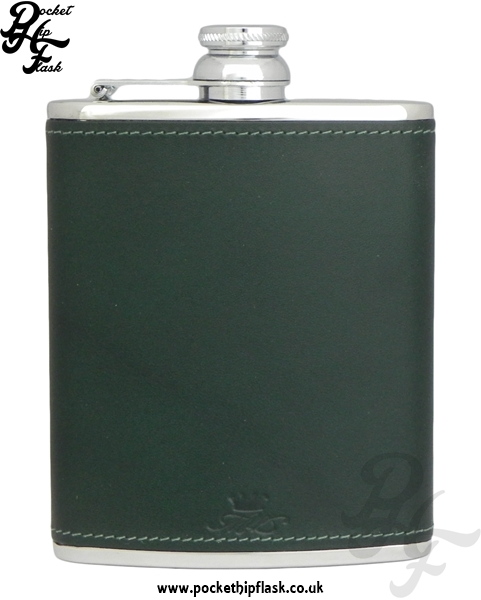 Green Luxury Leather 6oz Stainless Steel Hip Flask