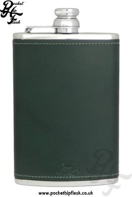 Green Luxury Leather 8oz Stainless Steel Hip Flask