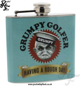 Grumpy old gits 5oz stainless steel hip flask, Grumpy Golfer - Having a rough day