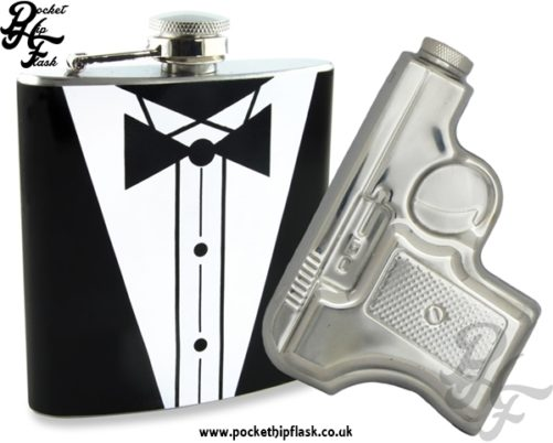 James Bond Style 2x 6oz Novelty Hip Flask Party Kit