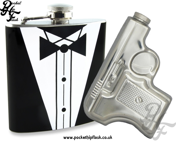 James Bond Style 2x 6oz Novelty Hip Flask Party Kit