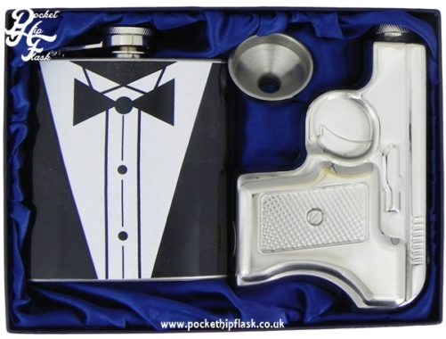 James Bond Style Hip Flask Gun and Tux Set