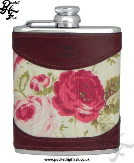 Ladies Luxury Leather Stainless Steel 6oz Hip Flask with Rose Design